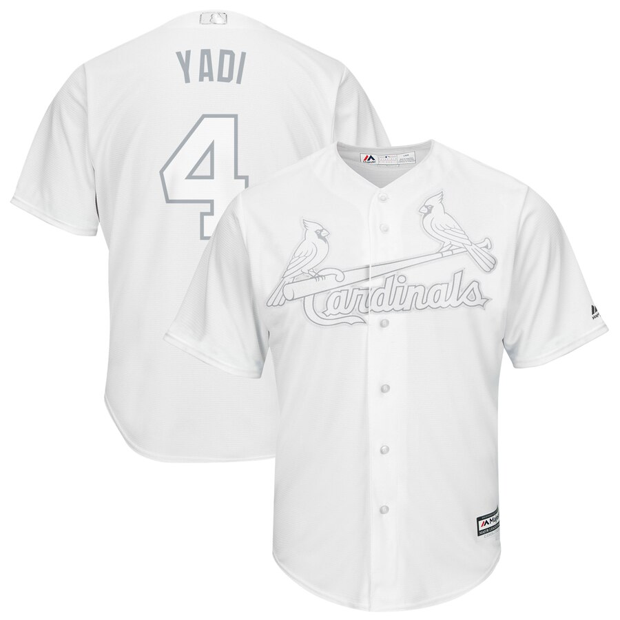 "Men's St. Louis Cardinals #4 Yadier Molina ""Yadi"" Majestic White 2019 Players' Weekend Player Stitched MLB Jersey"
