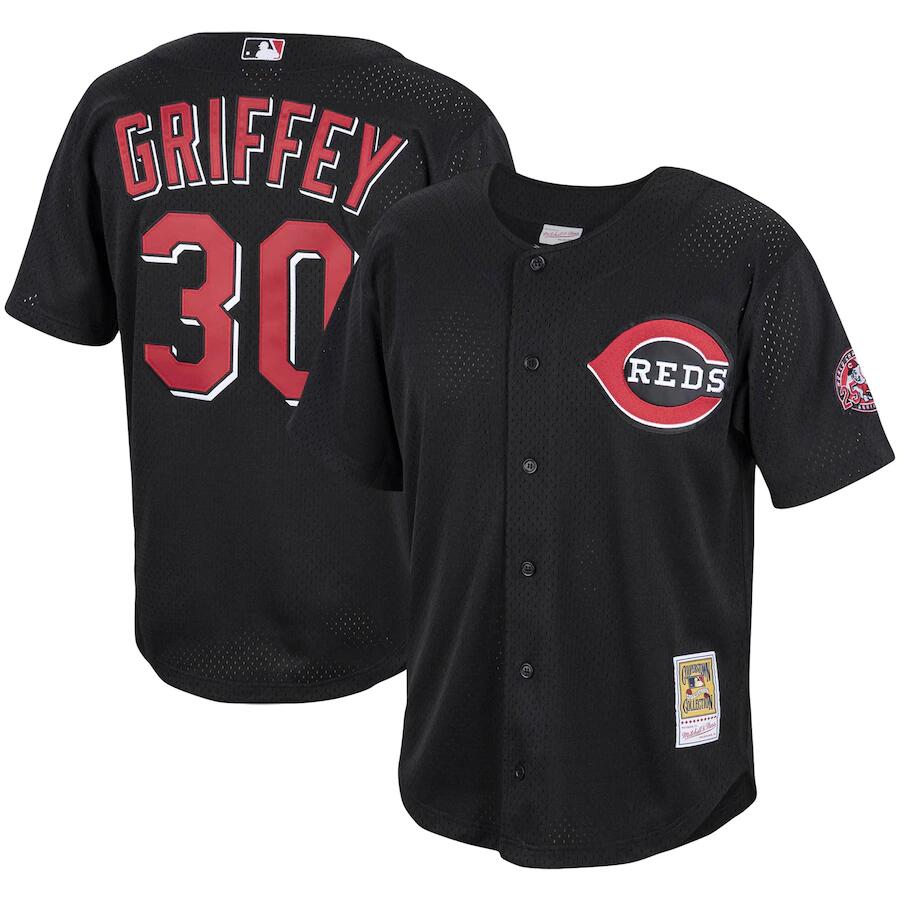 Men's Cincinnati Reds #30 Ken Griffey Jr. Black Stitched MLB Jersey