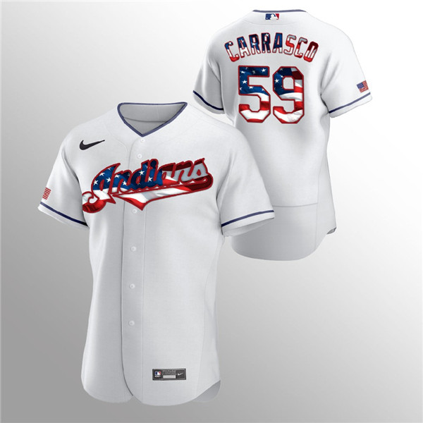 Men's Cleveland Indians White #59 Carlos Carrasco 2020 Stars & Stripes Flex Base Stitched MLB Jersey