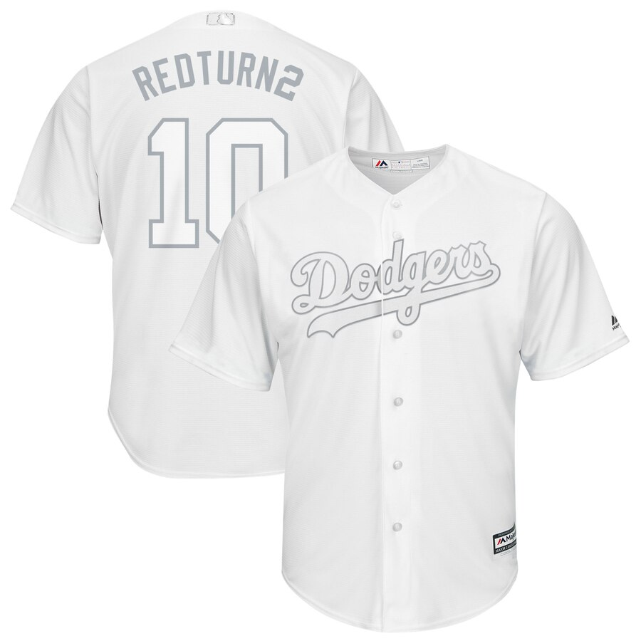Men's Los Angeles Dodgers #10 Justin Turner Majestic White 2019 Players' Weekend Player Stitched MLB Jersey
