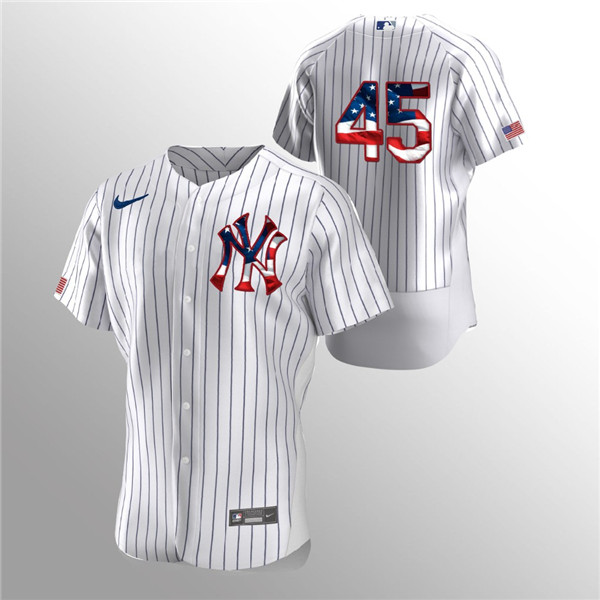Men's New York Yankees White #45 Gerrit Cole 2020 Stars & Stripes Flex Base Stitched MLB Jersey