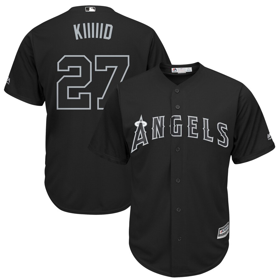 "Men's Los Angeles Angels #27 Mike Trout ""Kiiiiid"" 2019 Players' Weekend Player Stitched MLB Jersey"