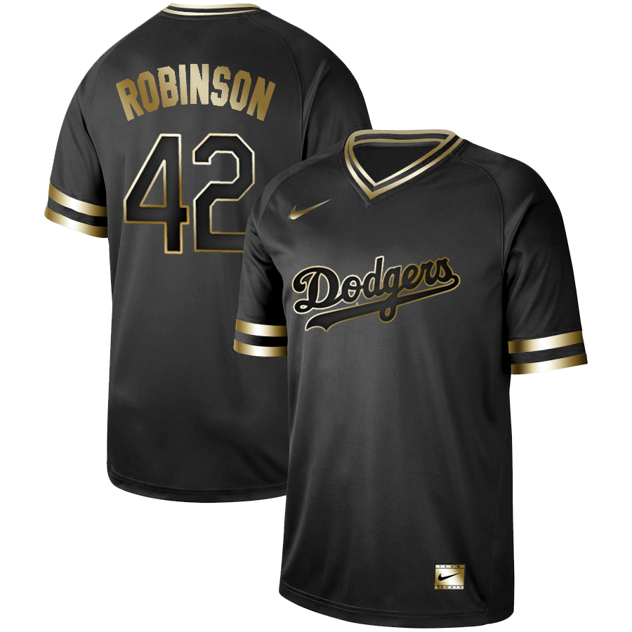 Men's Los Angeles Dodgers #42 Jackie Robinson Black Gold Stitched MLB Jersey