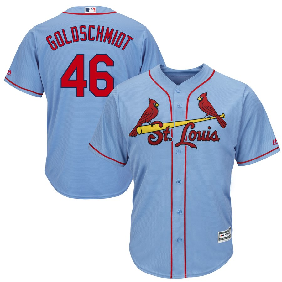 Men's St. Louis Cardinals #46 Paul Goldschmidt Majestic Light Blue Cool Base Stitched MLB Jersey