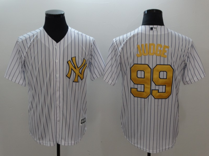 Men's New York Yankees #99 Aaron Judge White Gold Cool Base Stitched MLB Jersey