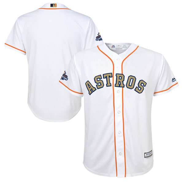 Men's Houston Astros Majestic White 2018 Gold Program Cool Base Team Stitched MLB Jersey