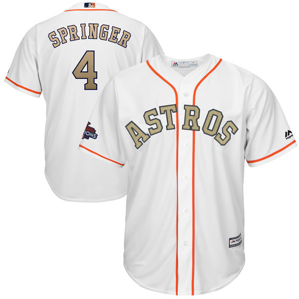 Men's Houston Astros #4 George Springer Majestic White 2018 Gold Program Cool Base Player Stitched MLB Jersey