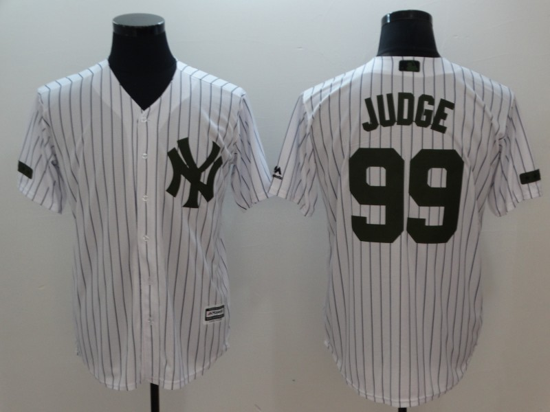 Men's New York Yankees #99 Aaron Judge White Olive Cool Base Stitched MLB Jersey