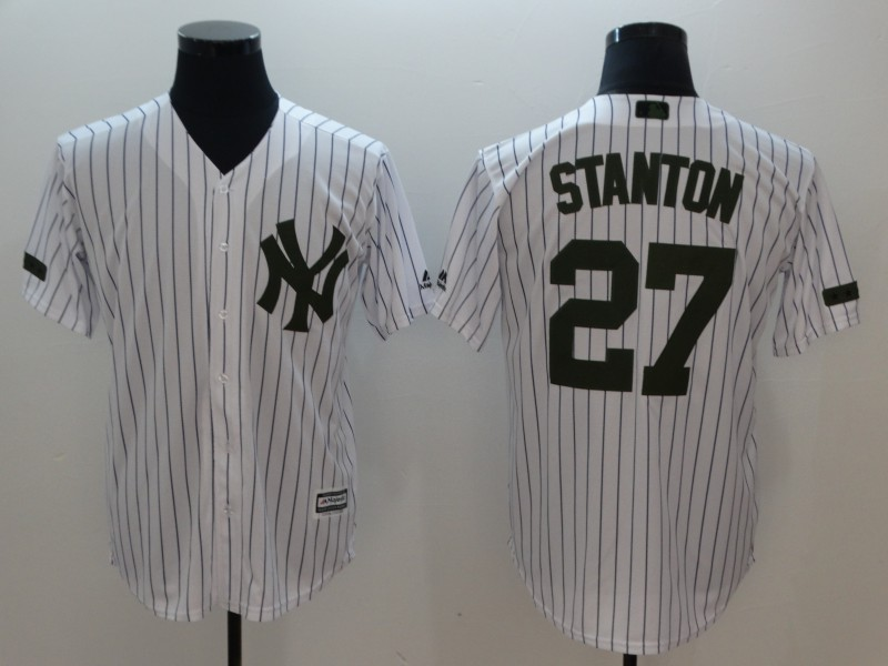 Men's New York Yankees #27 Giancarlo Stanton White Olive Cool Base Stitched MLB Jersey