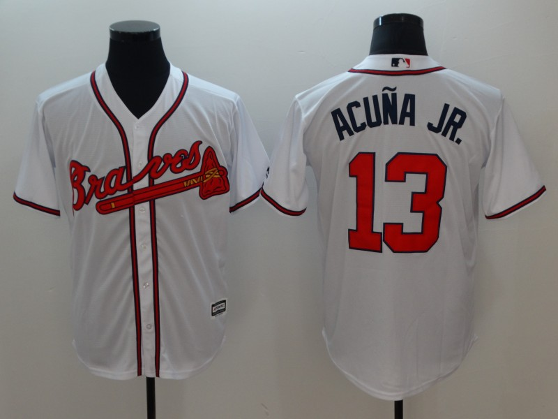 Men's Atlanta Braves #13 Ronald Acuña Jr White Flexbase Stitched MLB Jersey