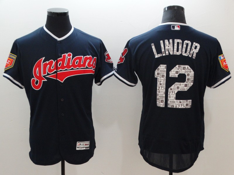 Men's Cleveland Indians #12 Francisco Lindor Navy 2018 Spring Training Flexbase Stitched MLB Jersey