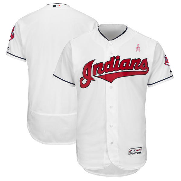 Men's Cleveland Indians White 2018 Mother's Day Flexbase Stitched MLB Jersey