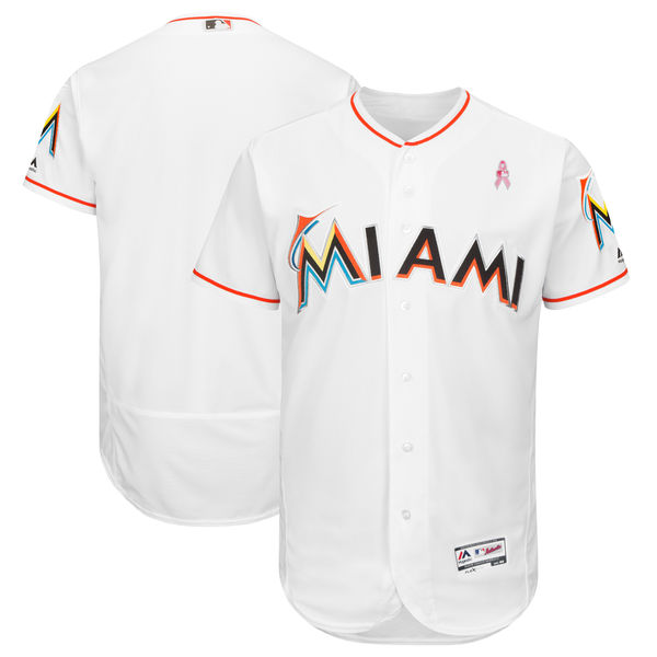 Men's Miami Marlins White 2018 Mother's Day Flexbase Stitched MLB Jersey