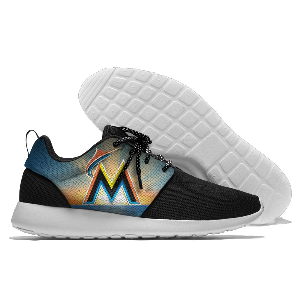Women's Miami Marlins Roshe Style Lightweight Running MLB Shoes 001