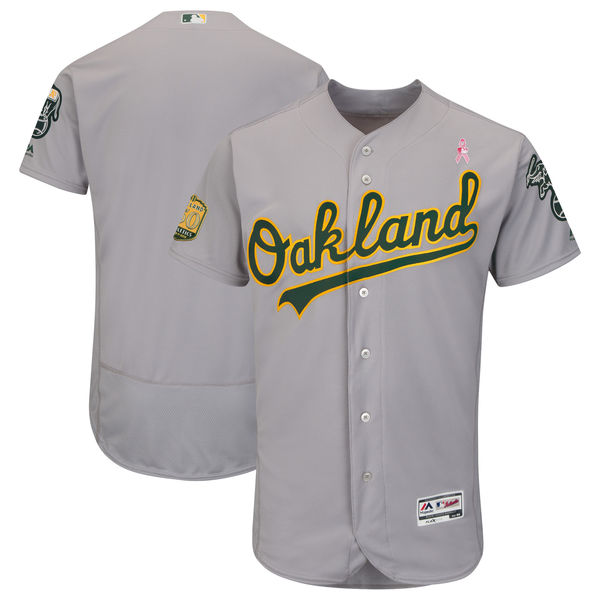 Men's Oakland Athletics Gray 2018 Mother's Day Flexbase Stitched MLB Jersey
