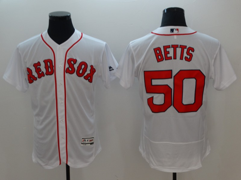 Men's Boston Red Sox #50 Mookie Betts White Flexbase Stitched MLB Jersey