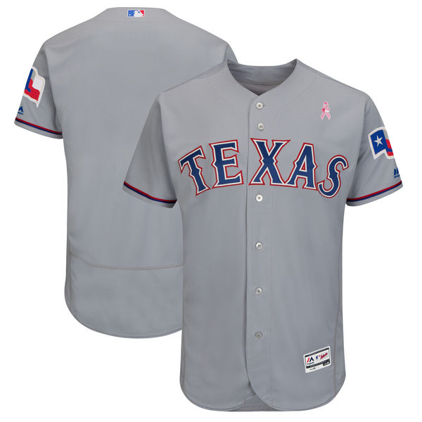 Men's Texas Rangers Gray 2018 Mother's Day Flexbase Stitched MLB Jersey