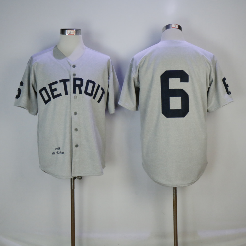 Men's Detriot Tigers #6 Al Kaline Gray 1968 Mitchell & Ness Stitched MLB Jersey