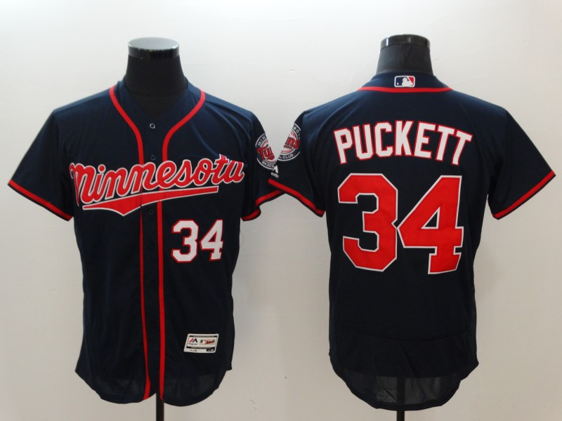 Men's Minnesota Twins #34 Kirby Puckett Navy Flexbase Stitched MLB Jersey