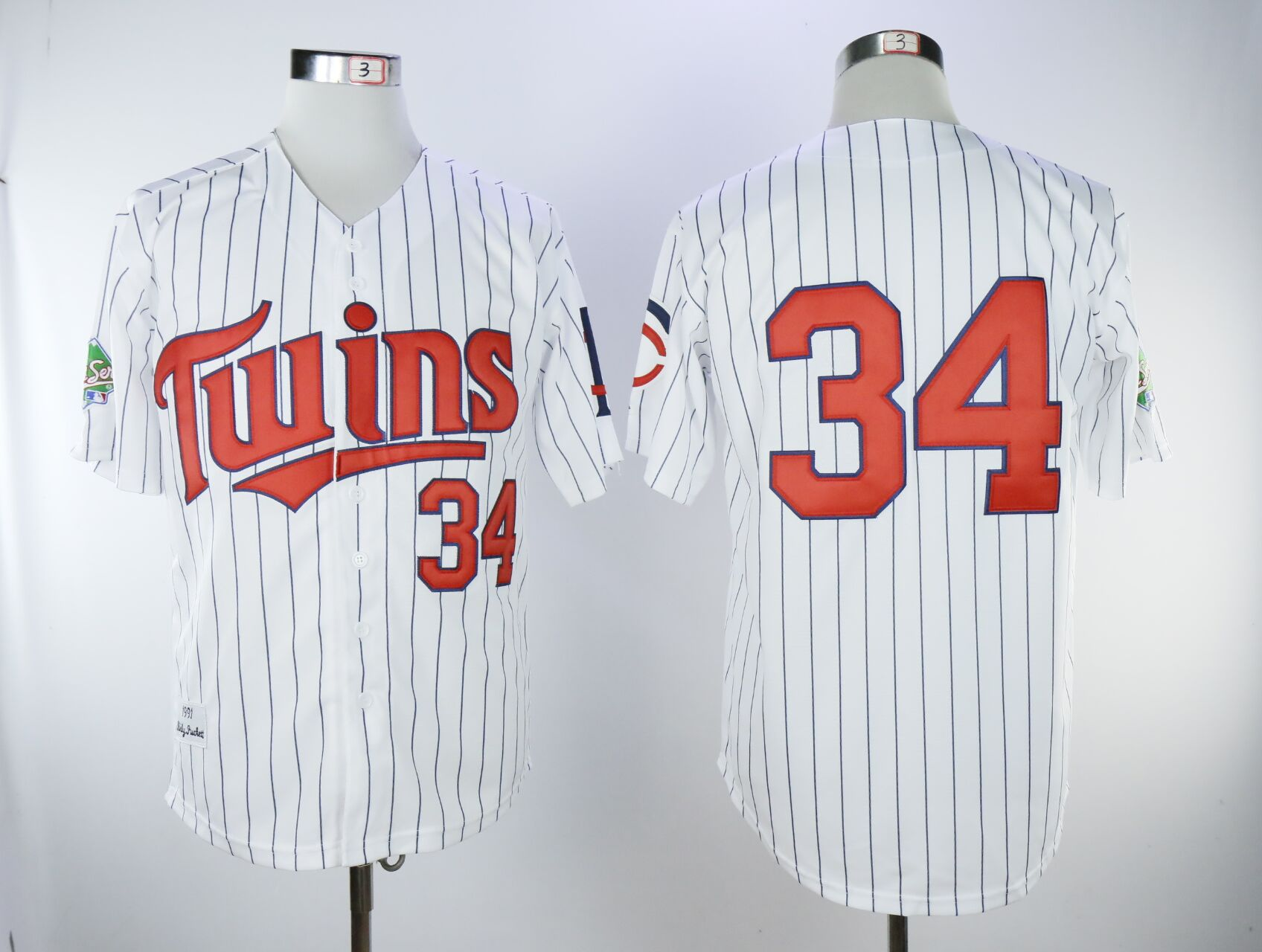 Men's Minnesota Twins #34 Kirby Puckett Mitchell And Ness White(Blue Strip) Throwback Stitched MLB Jersey