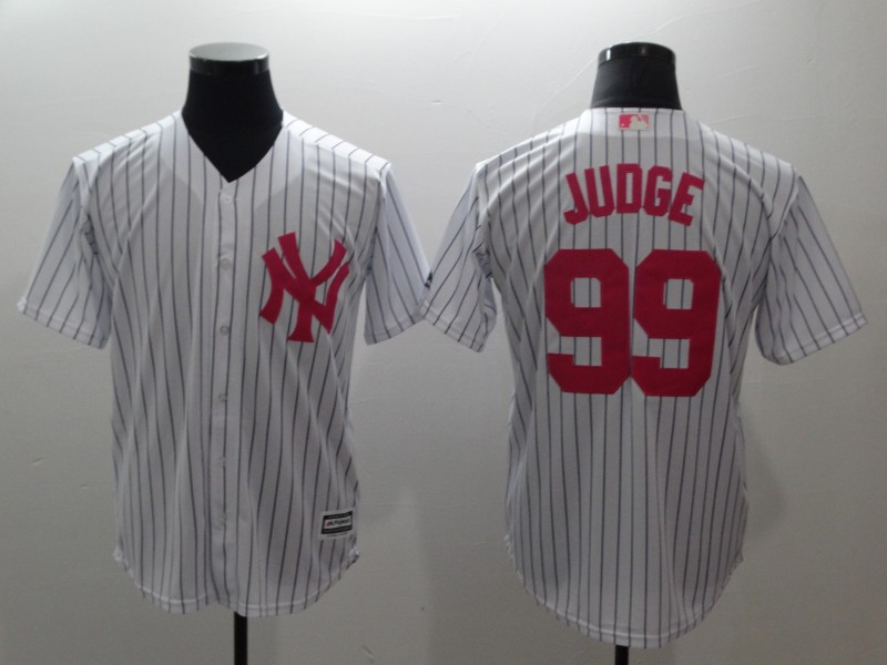 Men's New York Yankees #99 Aaron Judge White Pink Cool Base Stitched MLB Jersey