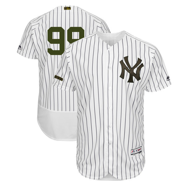 Men's MLB New York Yankees #99 Aaron Judge White Majestic 2018 Memorial Day Authentic Collection Flex Base Stitched Jersey