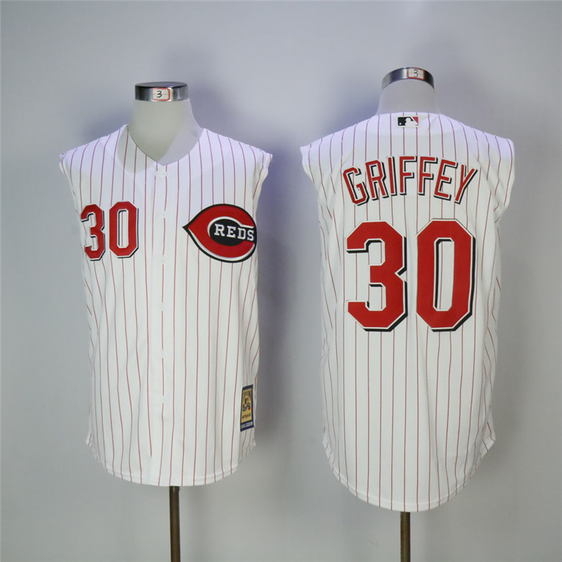 Men's Cincinnati Reds #30 Ken Griffey Jr White Cooperstown Collection Player Stitched MLB Jersey