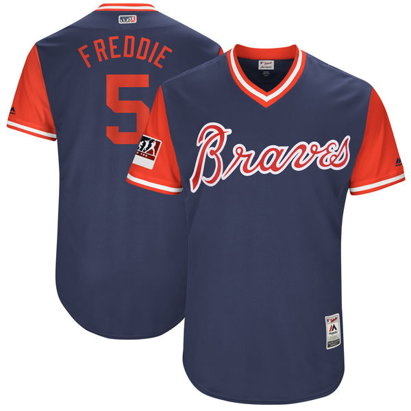 "Men's Atlanta Braves Freddie Freeman ""Freddie"" Majestic Navy 2017 Players Weekend Jersey"