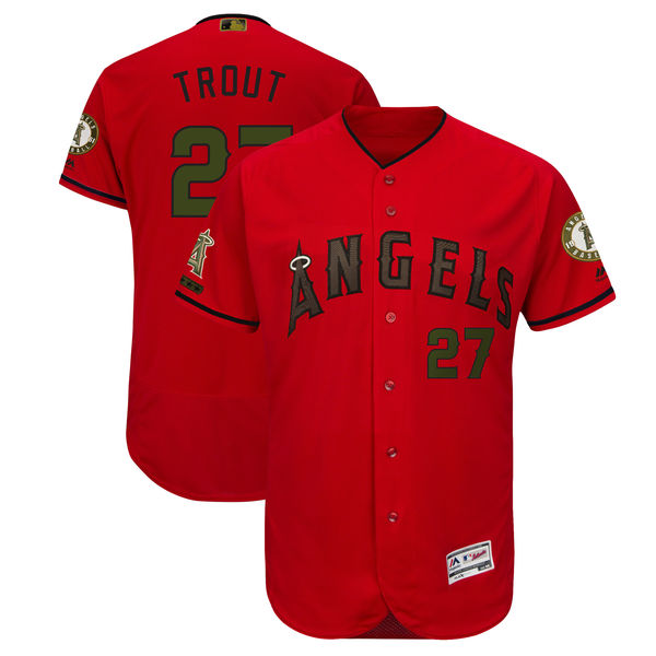 Men's Los Angeles Angels #27 Mike Trout Red 2018 Memorial Day Flexbase Stitched MLB Jersey