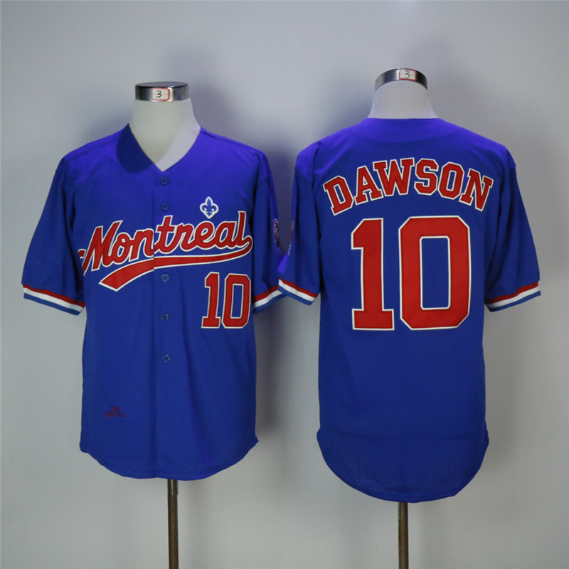 Men's Montreal Expos #10 Andre Dawson Blue Cooperstown Collection Mesh Batting Practice Stitched MLB Jersey