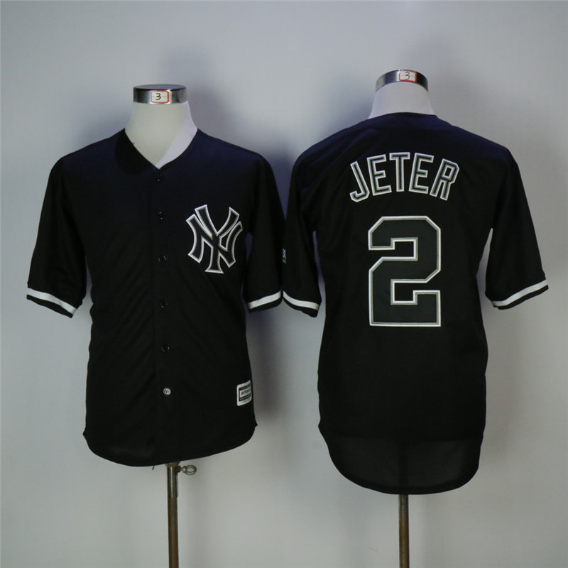 Men's New York Yankees #2 Derek Jeter Black Cool Base Stitched MLB Jersey