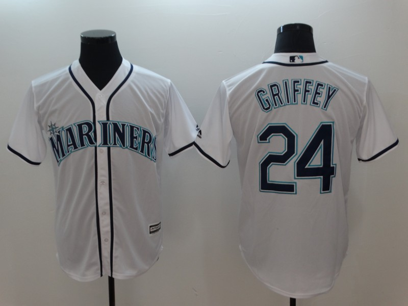 Men's MLB Seattle Mariners #24 Ken Griffey Jr. White Alternate Cool Base Stitched MLB Jersey