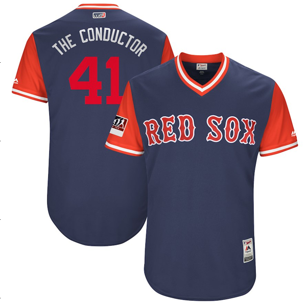 "Men's Boston Red Sox Chris Sale ""The Conductor"" Majestic Navy/Red 2018 Players' Weekend Jersey"