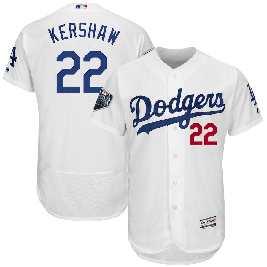 Men's Los Angeles Dodgers #22 Clayton Kershaw Majestic White 2018 World Series Flex Base Stitched MLB Jersey