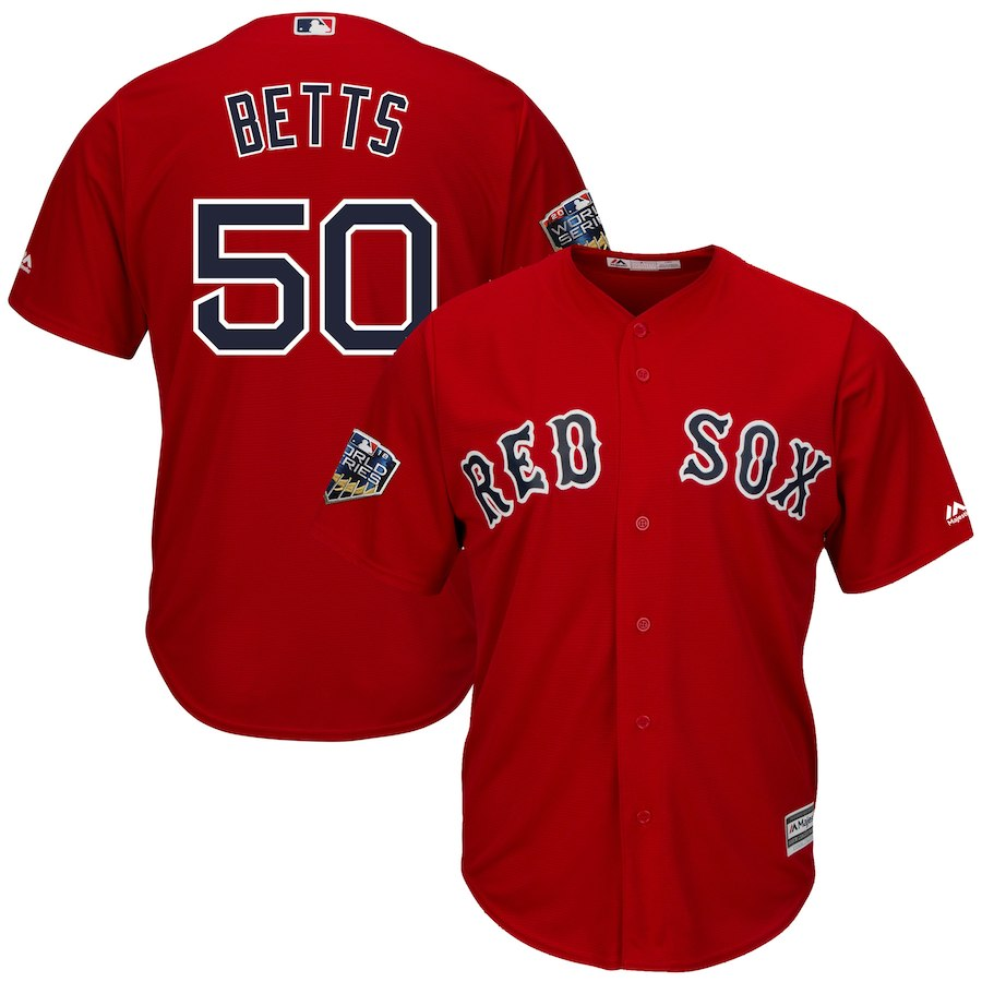Men's Boston Red Sox #50 Mookie Betts Majestic Scarlet 2018 World Series Cool Base Stitched MLB Jersey