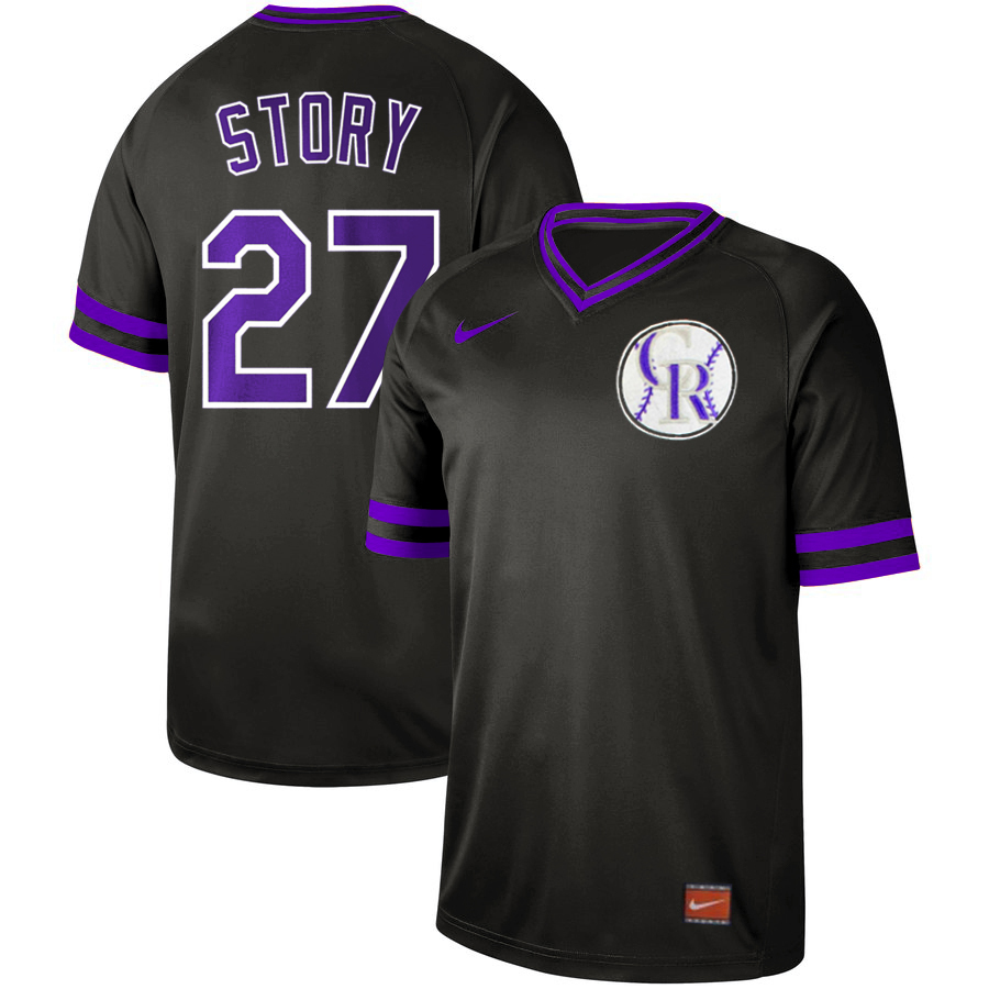 Men's Colorado Rockies #27 Trevor Story Black Cooperstown Collection Legend Stitched MLB Jersey
