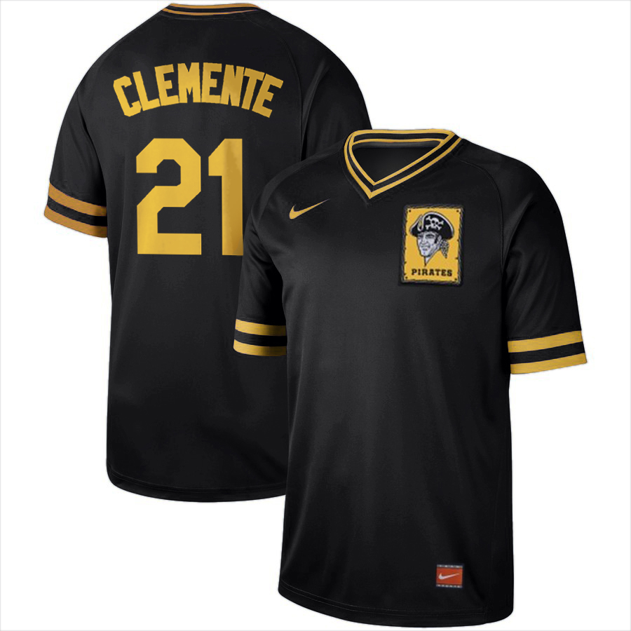 Men's Pittsburgh Pirates #21 Roberto Clemente Black Cooperstown Collection LegendStitched MLB Jersey