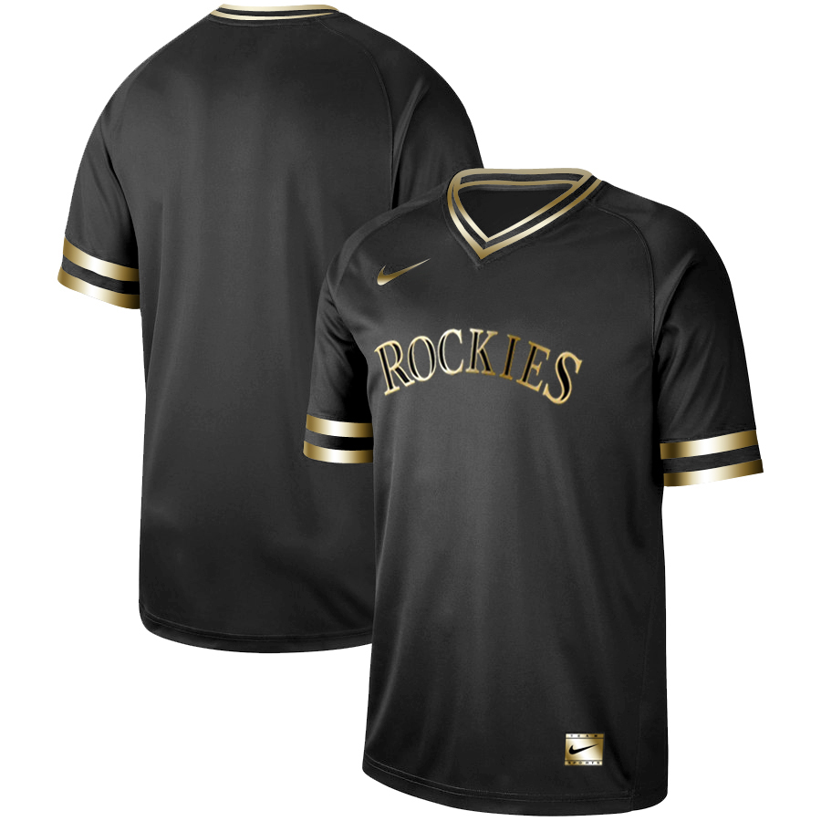 Men's Colorado Rockies Black Gold Stitched MLB Jersey
