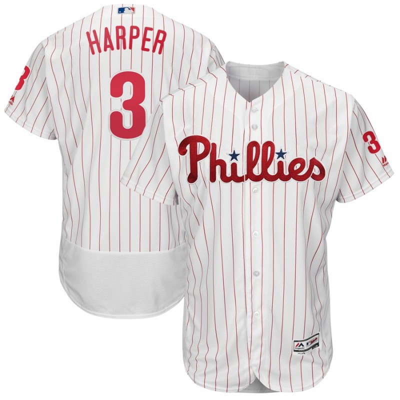Men's Philadelphia Phillies #3 Bryce Harper Majestic White Flexbase Stitched MLB Jersey