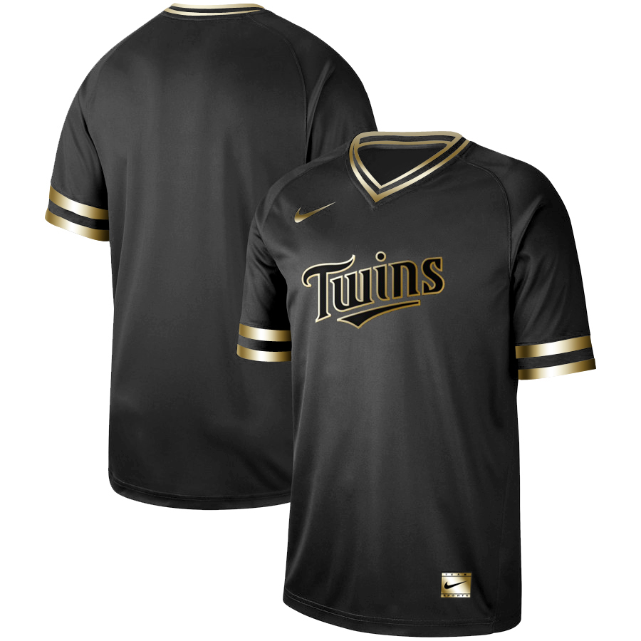 Men's Minnesota Twins Black Gold Stitched MLB Jersey