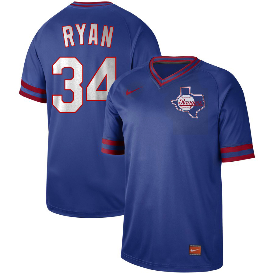 Men's Texas Rangers #34 Nolan Ryan Royal Cooperstown Collection Legend Stitched MLB Jersey