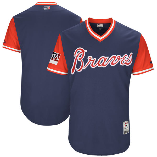 Men's Atlanta Braves Majestic Navy/Red 2018 Players' Weekend Authentic Team Stitched MLB Jersey