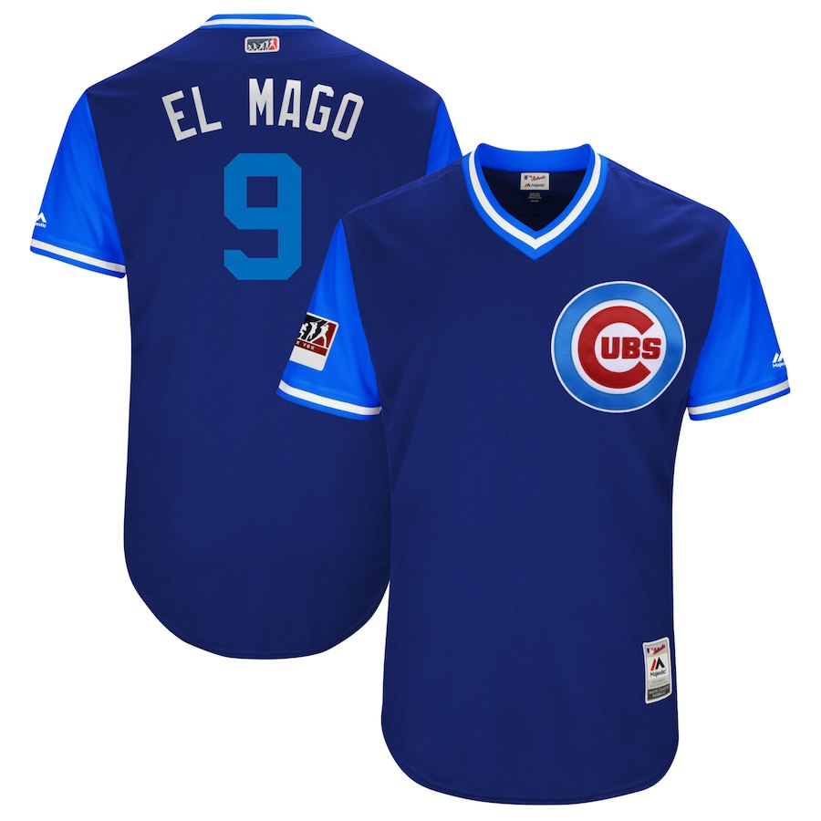 "Men's Chicago Cubs #9 Javier Baez ""El Mago"" Majestic Royal/Light Blue 2018 Players' Weekend Jersey"