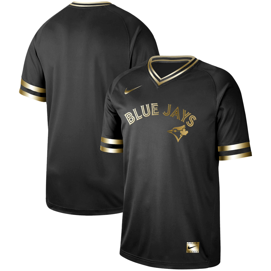 Men's Toronto Blue Jays Black Gold Stitched MLB Jersey