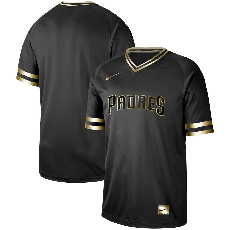 Men's San Diego Padres Black Gold Stitched MLB Jersey