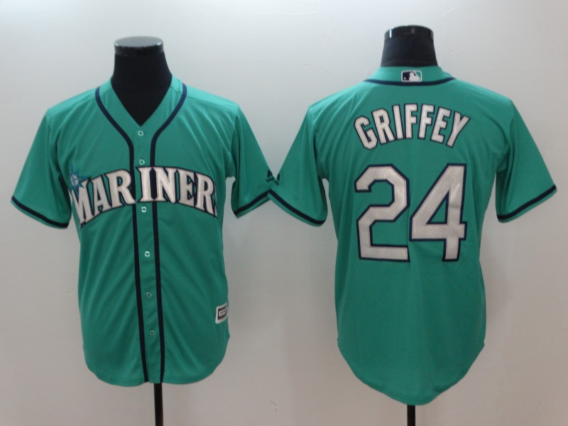 Men's MLB Seattle Mariners #24 Ken Griffey Jr. Green Alternate Cool Base Stitched MLB Jersey