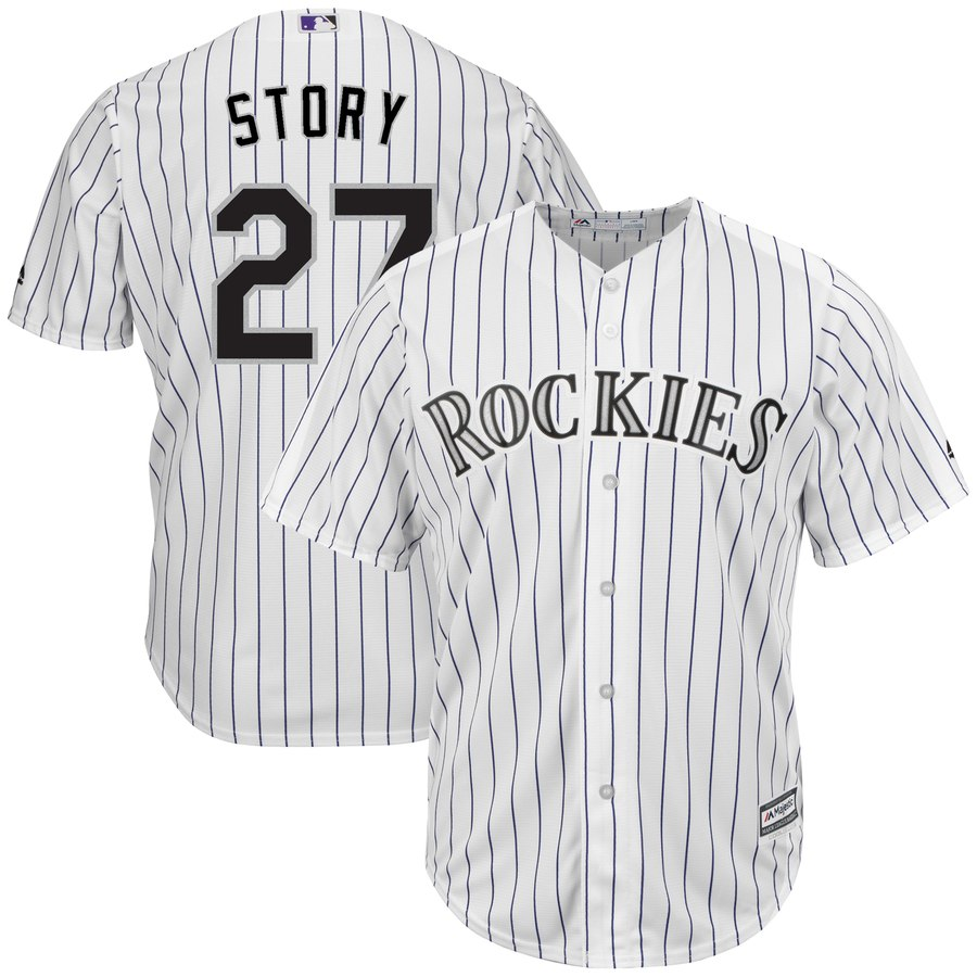 Men's Colorado Rockies #27 Trevor Story White Cool Base Stitched MLB Jersey