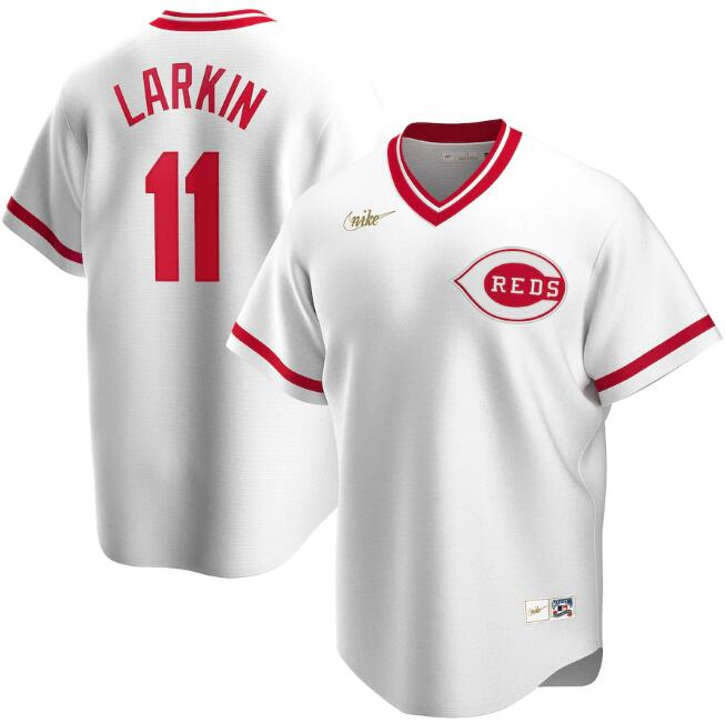 Men's Cincinnati Reds White #11 Barry Larkin Cool Base Stitched MLB Jersey