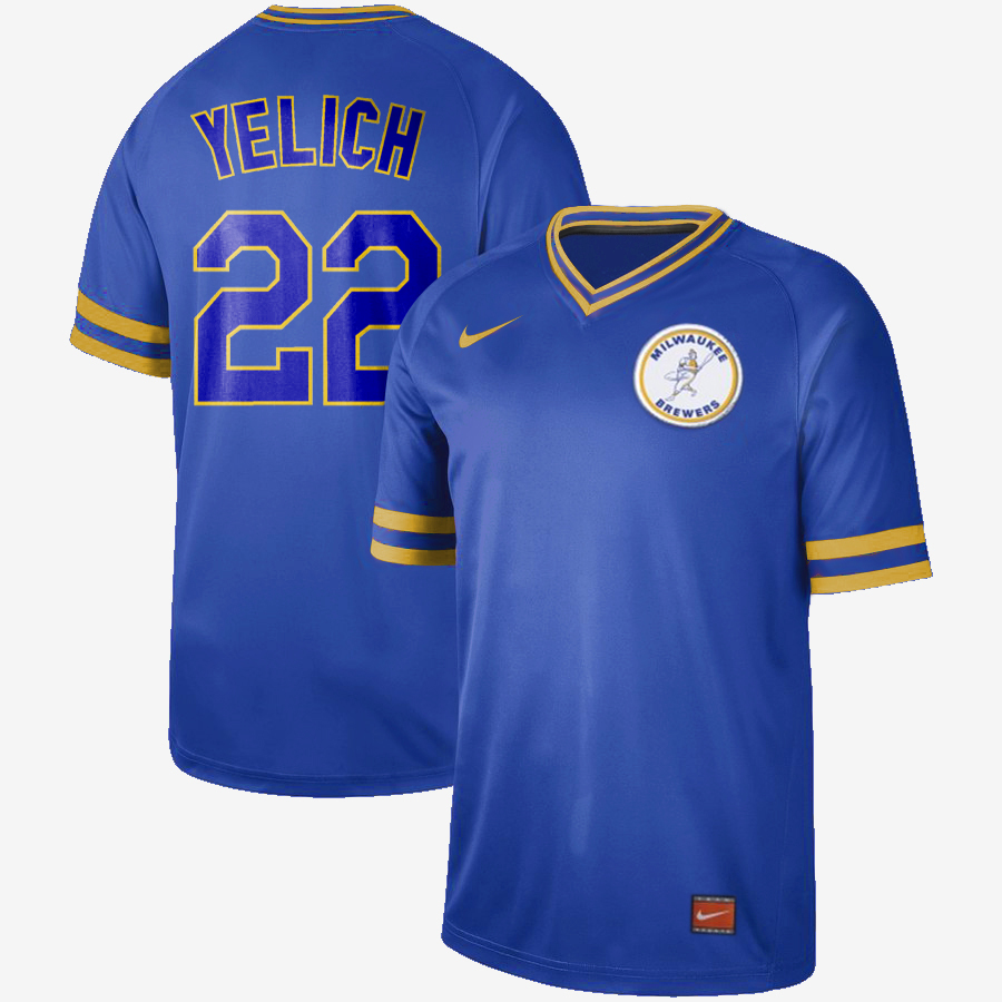 "Men's Milwaukee Brewers #22 Christian Yelich ""Yeli"" Cooperstown Collection Legend Stitched MLB Jersey"
