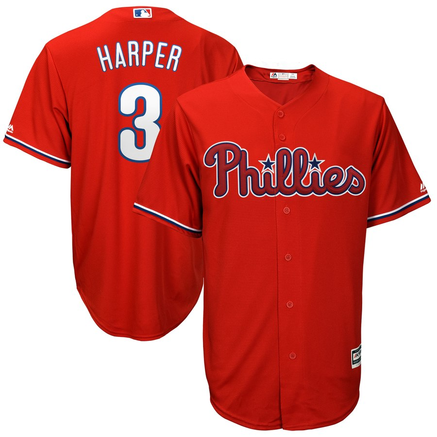 Men's Philadelphia Phillies #3 Bryce Harper Red Cool Base Stitched MLB Jersey